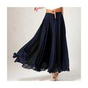 Dresses & Skirts - Navy Chiffon Maxi Skirt